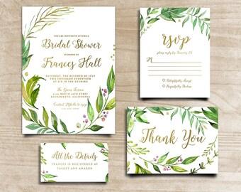 Green Leaf Invite, Leafy Invitation, Shower Invitation, Handpainted Invite, Wreath Shower Invite, Bridal Shower Invite,  Calligraphy Invite
