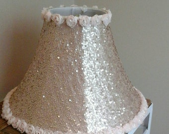 Hand sewn Champagne Sequin lamp shade with rosette and pearl trim