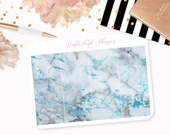 Marble Header Planner Stickers - Grey & Blue Foil Vein // Perfect for Erin Condren Vertical Life Planner
