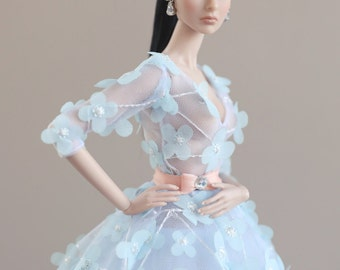 white flower dress for fashion royalty , poppy parker, Barbie silkstone , Fashion Dolls 12 ""