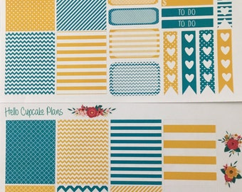 Mustard and Teal Small Set of Planner Stickers