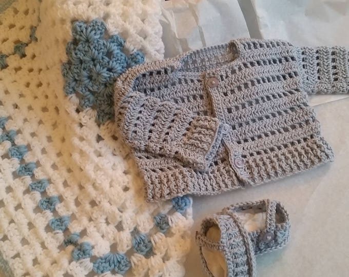 Duck Egg Blue Crochet Baby Set | Blue Cotton Cardigan | Crochet Baby Booties | Handmade Baby Blanket | Baby Shoes | Newborn | Baby Shower