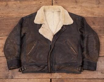 "Mens Vintage Sheepskin Shearling Leather B3 Jacket Faded Black XL 50"" R4555"