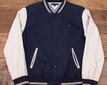 "Mens Vintage Tommy Hilfiger Varsity Jacket Bomber Blue White XXL 52"" R4887"