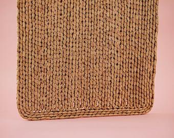 Square Woven Trivet   Wicker Trivet   Vintage Wicker Trivet   Wall Hanging   Raffia Pot Holder