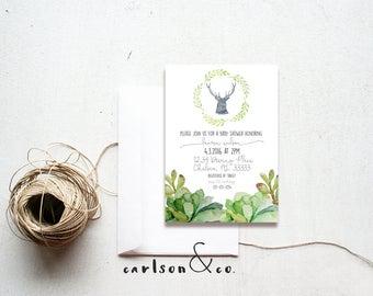Garden Baby Shower | Watercolor Succulents & Deer Invitation | Diaper Shower Digital Printable Invitation