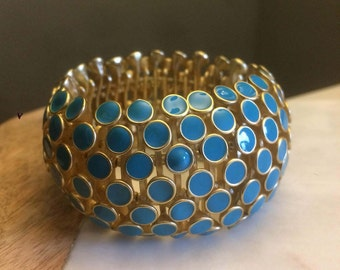 Mid-Century Expansion Bracelet, Turquoise Expansion Cuff, Modern Turquoise and Gold Bracelet, Gift for Her