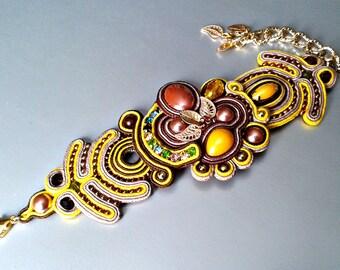 Soutache bracelet.Handmade bracelet. Yellow, brown bracelet.