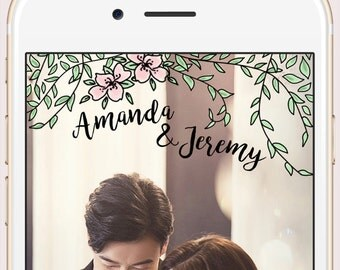Wedding Custom Snapchat Geofilter Personalized Geo Filter with Customized Names and Date / Golf Foil Wreath Flower Branch Foliage Elegant