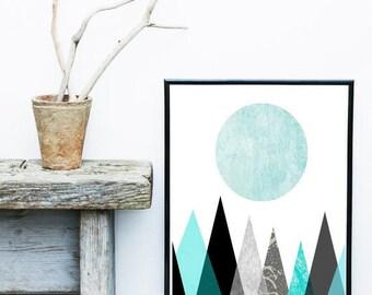 Scandinavian Art, Mountain Print, Blue Geometric Art, Mid Century Modern, Abstract Art Print,  Giclee print, Wall Art, Wall Decor