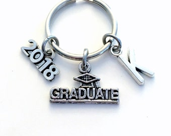 Graduation Gift for him Keychain, Graduate Key Chain, 2018 2017 with Initial, or her Grad Keyring letter Customized men Teenage boy Teen man