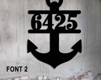 Ships' Anchor Address Custom Metal Sign  Nautical House Number Steel Metal Sign        17 1/2  wide x 25 high