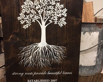 Wooden Sign | Tree Sign| Family Name Sign| Wedding Gift| Gift Idea | Distressed Wood Decor | Denney Studio | Personalized