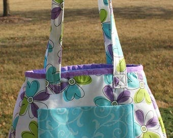 Aqua & Lavender Daisy Purse With Gusset