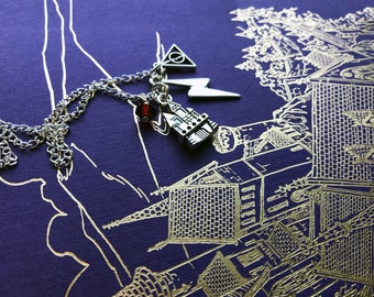 Wizard Charm Necklace - Hogwart Castle Necklace - Hogwarts House necklace - Deathly Hallows Symbol