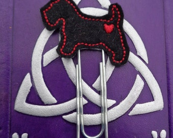 Black Scotty Dog - Jumbo Clip - PaperClip - Felt Planner Clip - Planner Accessory - Stationery - Cute Paper Clip - Bookmark - Planner Clip