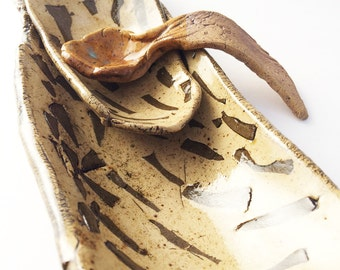 Small Decorative Spoon, Rustic Primitive Twisted, Hobbitware, Green Brown
