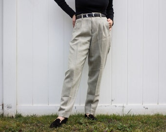 Cream and Grey Houndstooth Pants 1980's Era