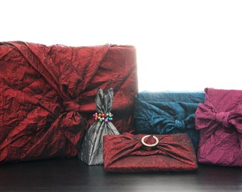 Crinkle Collection Reusable Fabric Gift Wrap Set