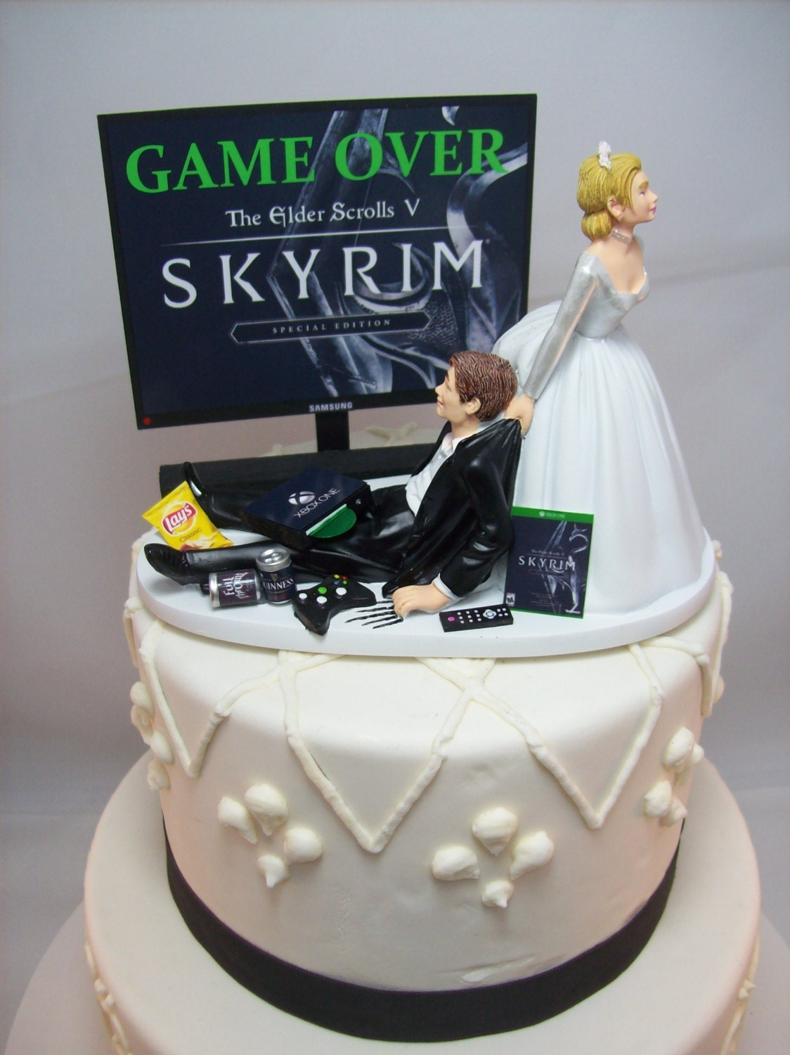 gamer funny wedding cake topper game over video game gaming. Black Bedroom Furniture Sets. Home Design Ideas