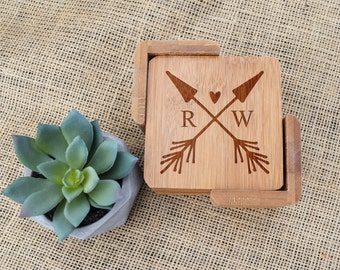 Arrow & Heart with Initials Coasters, Set of 6, Bamboo, Laser Engraved, Custom, Personalized, Wedding Coasters, Valentine's Day, Anniversary
