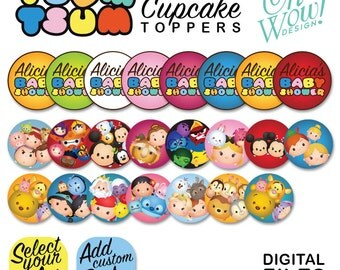 Tsum Tsum Fully Customized Cupcake Toppers Digital File