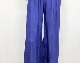 Vintage Blue Palazzo Pants || High-Waist Pants || Semi-Sheer Pants