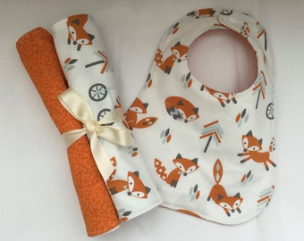 Baby Boy Gift Set, Baby Girl Gift Set, Baby Gift Set, Baby Burp Cloth & Bib Set, , Bibdana, Gender Neutral, Baby Drooling Cloths/Bib, Fox