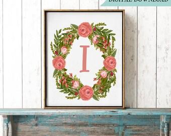 Letter I Monogram Print, Printable Floral Wreath, Initial I Flower Print, Girly Monogram