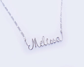 Sterling Silver Personalized Wire Name Necklace. Custom Made Wire Writing Necklace. Sterling silver 925