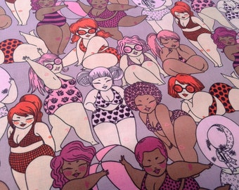 Bathing Beauties Beach Fabric, Fabulous multi-racial Plus Size Pink Ladies in swimsuits, Novelty, Alexander Henry, by the yard, half yard