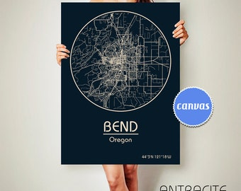 BEND Oregon CANVAS Map Bend Oregon Poster City Map Bend Oregon Art Print Bend Oregon poster Bend Oregon map art Poster Bend ArchTravel