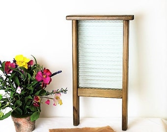 Vintage Washboard/Glass Washboard/Stocking Washboard/Upcycled Noticeboard/SALE(Ref 1951K)
