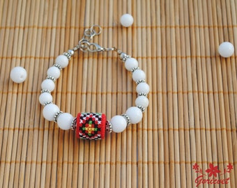 Agate bracelet energy bracelet white red bracelet boho jewelry birthday gift for women wife gifts mom gifts sister gifts embroidered jewelry