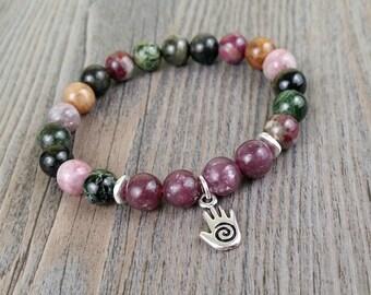 Elbaïte multicolored tourmaline and lepidolite gemstone bracelet - hamsa hand charm