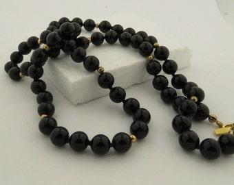 Vintage Blue Lapis & Black Onyx Necklaces.
