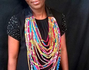 African Necklace, Multistrand African Necklace - African Wax Necklace - African Jewelry - Multi-layered Necklace - Ankara Conversation Piece