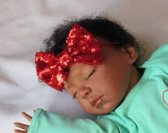Red sequin Bow headband - Sequin sparkly headband - little girl red sparkle headband - photo prop headband - elegant red bow headband