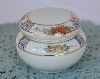 Vintage Nippon Hand Painted Dresser Jar - Powder Jar - Trinket Box - Orange Flowers with Gold Trim