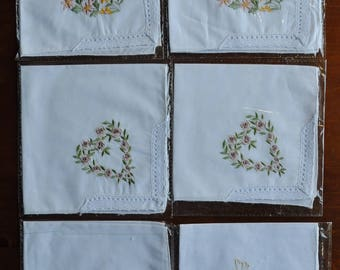 Vintage Embroidered Handkerchiefs - Set of 6 - New - Cotton - Floral - Lace - Gift - Mothers Day
