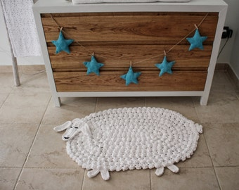 Animal Hygge Rug, Black Sheep Decor, Lamb Hygge Rug, Modern White Rug, Woodland Nursery Rug, Woodland Nursery Decor, Handmade, Custom, Gift