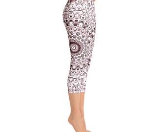 Mid Rise Capri Yoga Leggings - Boho Yoga Pants, Brown Mandala Yoga Tights, Printed Leggings, Custom Leggings, Womens Stretch Pants