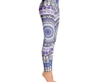 Tribal Leggings - Aztec Leggings, Blue and Purple Mandala Leggings, Festival Pants, Yoga Pants, Fashion Tights, Footless Tights