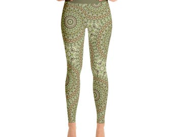 Camouflage Green and Brown Printed Leggings. Camo Leggings. Festival Leggings. Yoga Pants Womens Stretch Pants. Yoga Tights