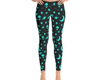 Alien Head Leggings - Outer Space Leggings, Blue and Black Night Sky Yoga Pants, Star Leggings Tights