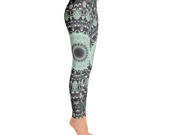Mandala Yoga Pants - Dance Leggings, Burning Man Clothing Women, Hooping Clothes, Festival Leggings