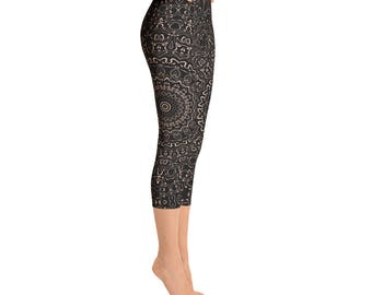 Capris - Apricot Yoga Pants, Black Leggings with Peach Mandala Designs for Women, Printed Leggings, Pattern Yoga Tights