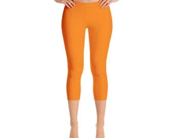 Capris - Orange Leggings, Mid Rise Waist Yoga Pants for Women, Yoga Bottoms