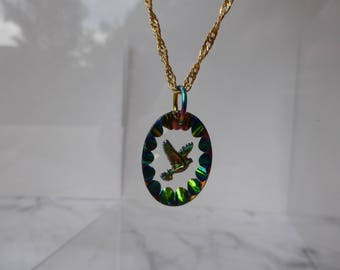 Rainbow Dove Vintage Glass Pendant, Peace, Love