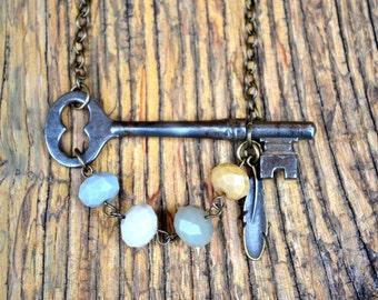 Vintage Skeleton Key Necklace | Repurposed Jewelry | Boho Chic Jewelry